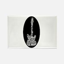 guitar word fill white on black music image Magnet