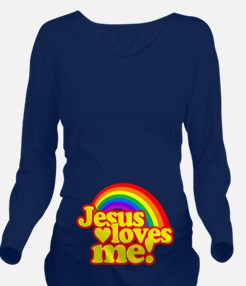 Jesus Loves Me Rainbow Long Sleeve Maternity T-Shi