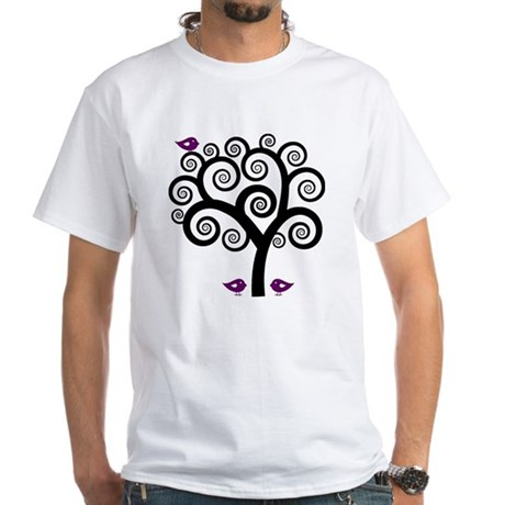 Black & Purple Swirl Tree White T-Shirt