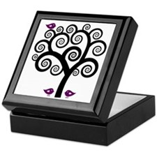 Black & Purple Swirl Tree Keepsake Box