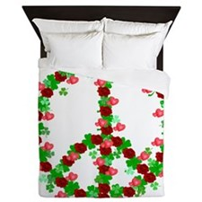 Shamrocks and Roses Peace Sign Queen Duvet