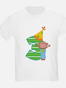 3rd Birthday Boy Monkey T-Shirt