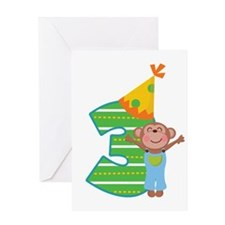 3rd Birthday Boy Monkey Greeting Card