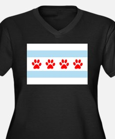 Chicago Dogs: Paw Prints Women's Plus Size V-Neck