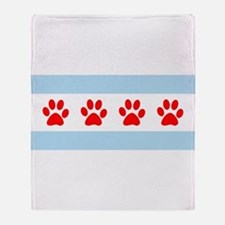 Chicago Dogs: Paw Prints Throw Blanket