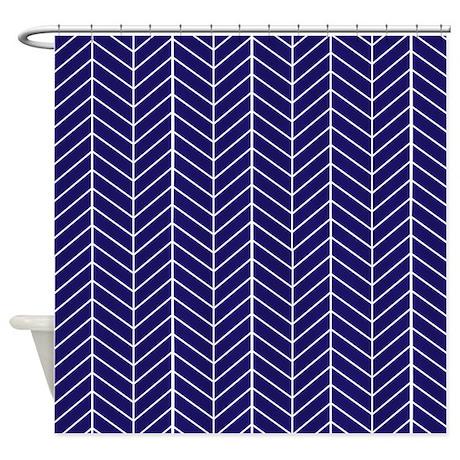 Navy blue herringbone shower curtain by inspirationzstore