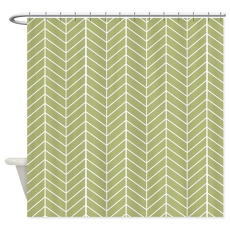 Olive Green Herringbone Shower Curtain By Inspirationzstore