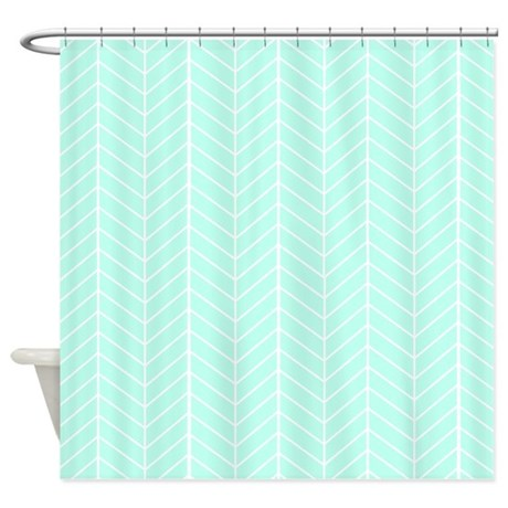 mint green herringbone shower curtain by inspirationzstore