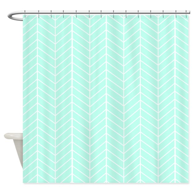 Mint green herringbone shower curtain by inspirationzstore - Mint green kitchen curtains ...