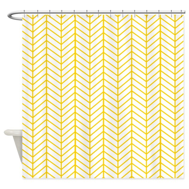Yellow Herringbone Shower Curtain By InspirationzStore