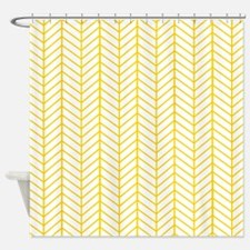 Yellow Herringbone Shower Curtain