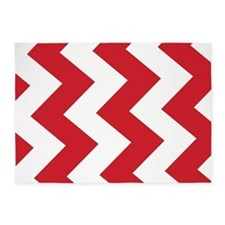 Red And White Chevron! 5X7 Area Rug