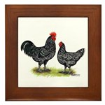 Java Rooster and Hen Framed Tile
