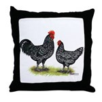 Java Rooster and Hen Throw Pillow
