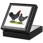 Java Rooster and Hen Keepsake Box