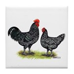 Java Rooster and Hen Tile Coaster