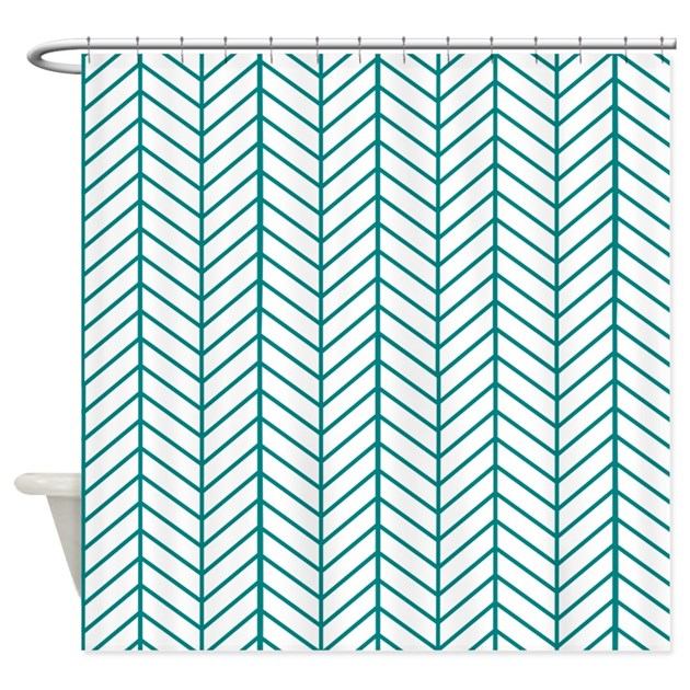 Teal Blue Herringbone Shower Curtain By InspirationzStore