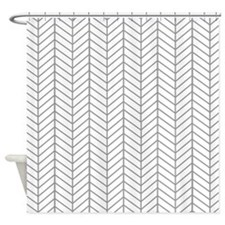Gray Herringbone Shower Curtain