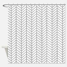 Gray Herringbone Shower Curtain
