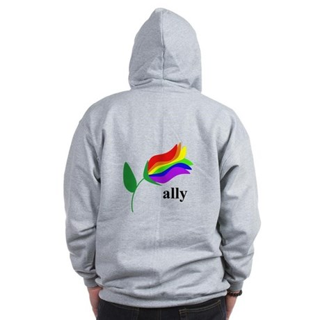 ally flower on clear with black text Zip Hoodie