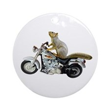 Motorcycle Squirrel Ornament (Round)