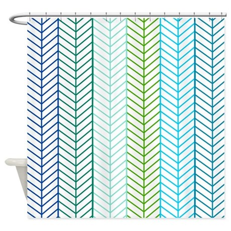 Aqua Herringbone Pattern Shower Curtain By InspirationzStore