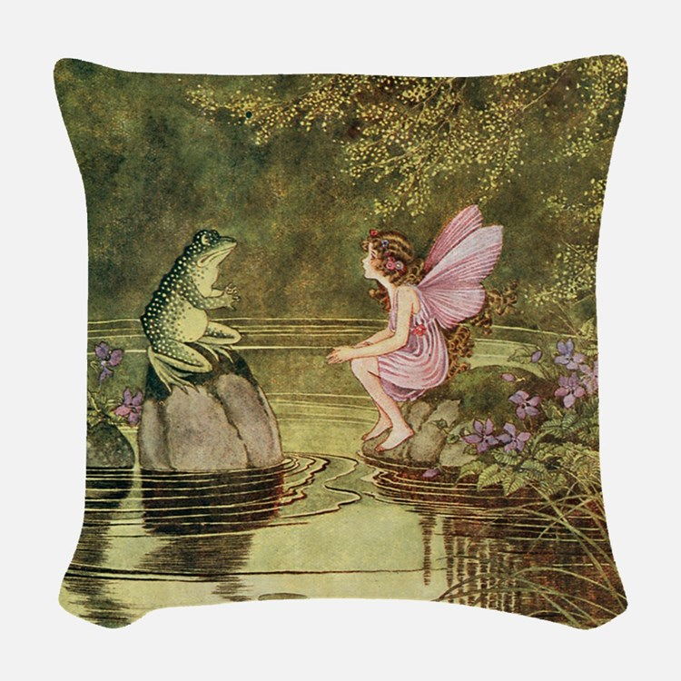 Frog Begging Fairy Child Woven Throw Pillow