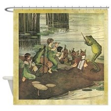 Frog Directing Fairy Children Orchestra Shower Cur