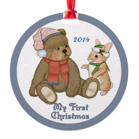 Bear and Bunny 1st Christmas Round Ornament