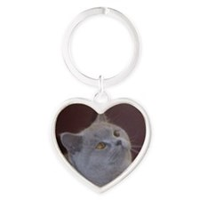 British Shorthair cat Heart Keychain