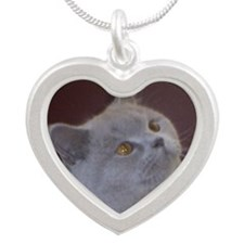 British Shorthair cat Silver Heart Necklace