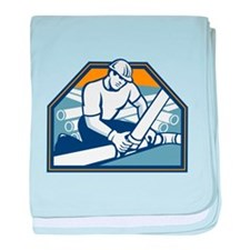 Drainlayer Worker Laying Pipes Retro baby blanket