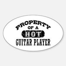 Property of a Hot Guitar Player Sticker (Oval)
