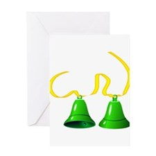 Green Bells Ringing Greeting Cards