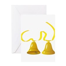 Gold Bells Ringing Greeting Cards