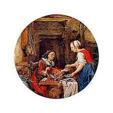 "Abraham van Strij - The Fish Saleswoma 3.5"" Button"