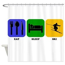 Eat Sleep Ski Shower Curtain