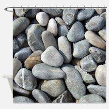Grey Beach Pebbles Shower Curtain