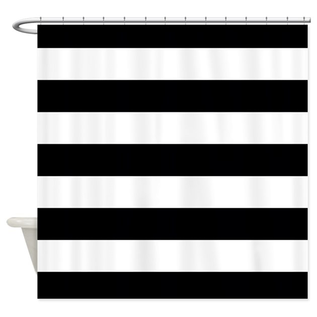 Black and white stripe shower curtain by inspirationzstore Black and white striped curtains