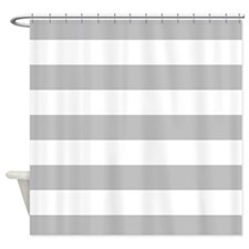Grey and white stripe Shower Curtain