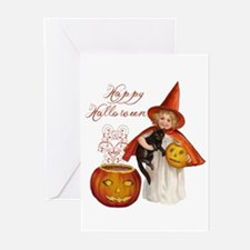 Vintage Halloween witch Greeting Cards
