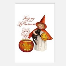 Vintage Halloween witch Postcards (Package of 8)