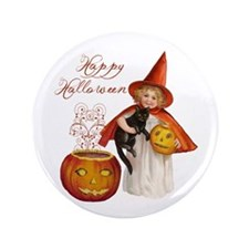 "Vintage Halloween witch 3.5"" Button (100 pack"