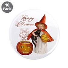 "Vintage Halloween witch 3.5"" Button (10 pack)"