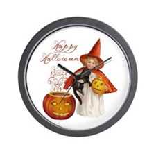 Vintage Halloween witch Wall Clock
