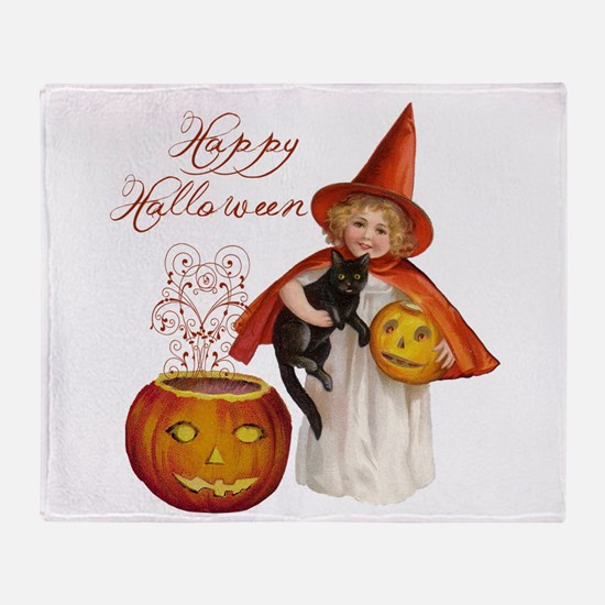 Vintage Halloween witch Throw Blanket