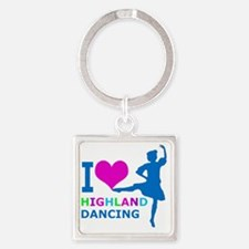I LOVE highland dancing pink blue  Square Keychain