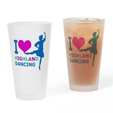 I LOVE highland dancing pink blue g Drinking Glass