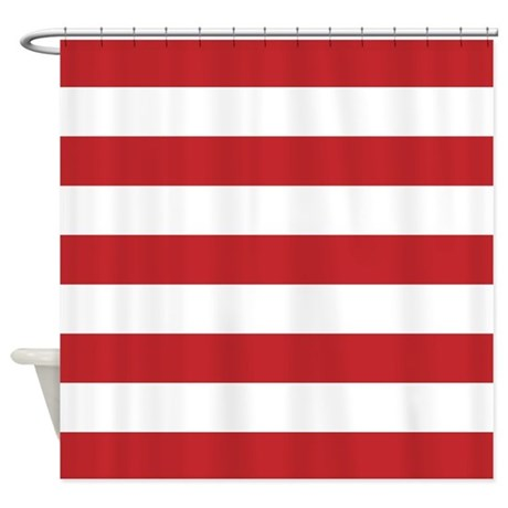 Red And White Stripe Shower Curtain By InspirationzStore