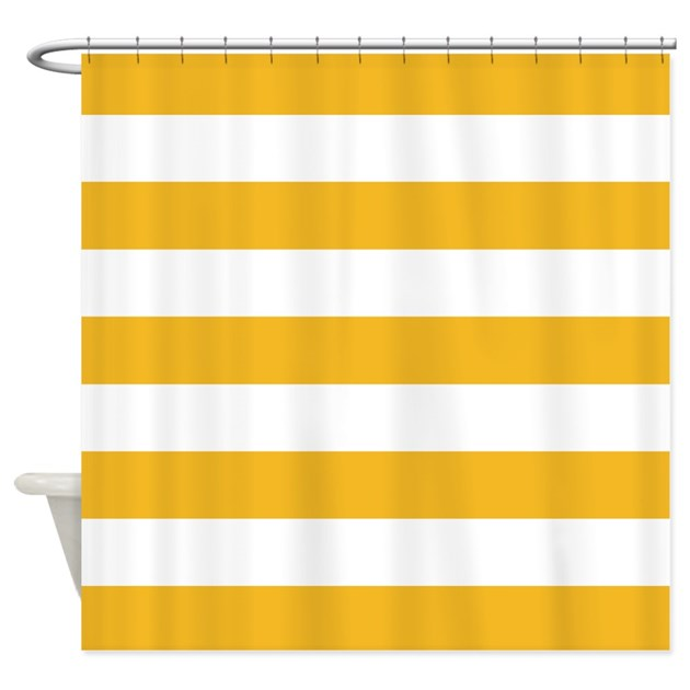 Yellow And White Stripe Shower Curtain By InspirationzStore